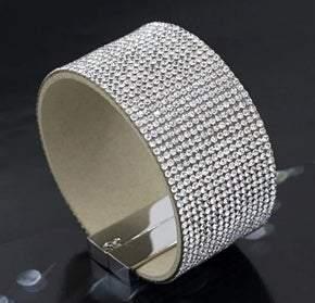 Elegant Leather Austrian Clear Crystal Wrap Bracelet (sku8004)