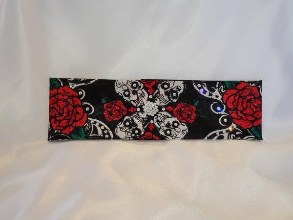 Roses and Skulls bandana with red and clear swarovski crystals (Sku1585)