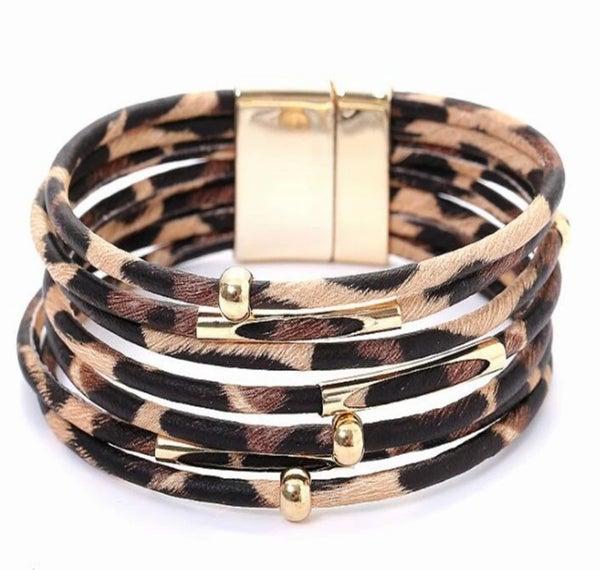 Leopard Leather Bracelet (Sku8012)