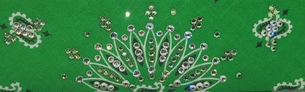 Narrow Kelly Green Paisley with Diamond Clear & Light Green Austrian Crystals (Sku2512)
