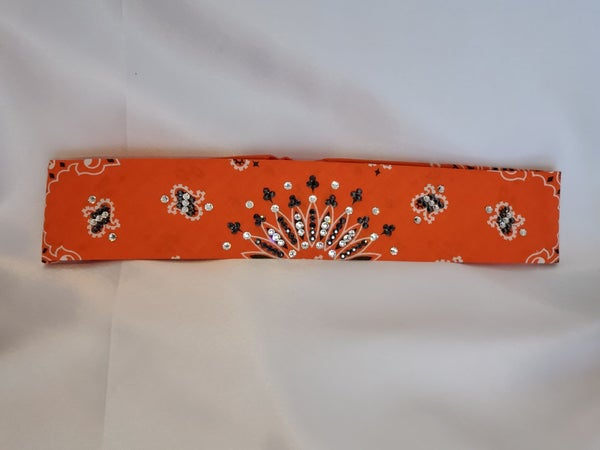 Narrow Orange Paisley With Jet Hematite and Diamond Clear Swarovski Crystals (Sku2193)