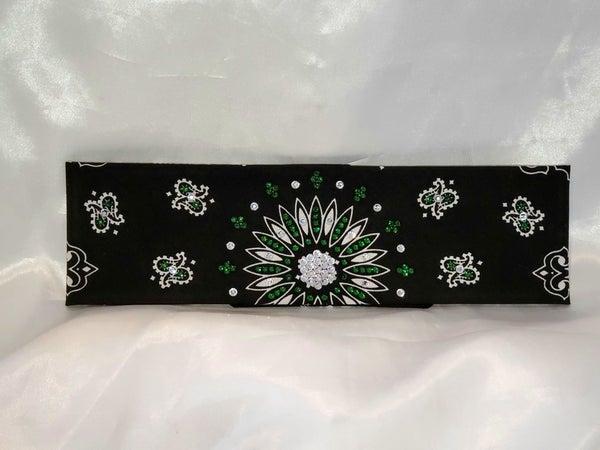 Black Paisley With Dark Green and Diamond Clear Swarovski Crystals (sku1941)