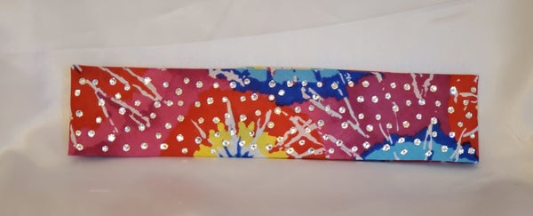 Narrow Paint Splatter with Diamond Clear Swarovski Crystals (Sku9955)