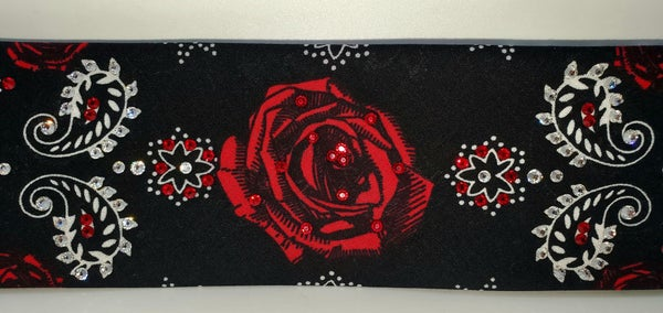 Red Rose Bandana with Bright Red and Diamond Clear Swarovski Crystals (Sku9005)