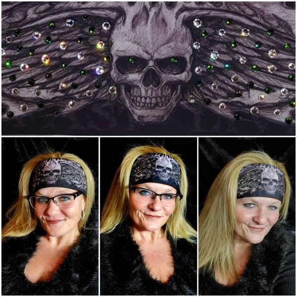 Wing Skull with Dark Green and Diamond Clear Swarovski Crystals (Sku1572)