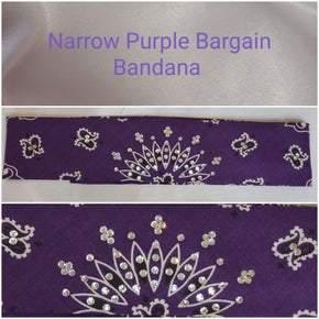 Bargain Bandana Narrow Purple with Diamond Clear Crystals (Sku8039)