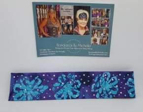 Narrow Purple and Turquoise Batik with Purple, Turquoise and Diamond ClearSwarovski Crystals (Sku9936)