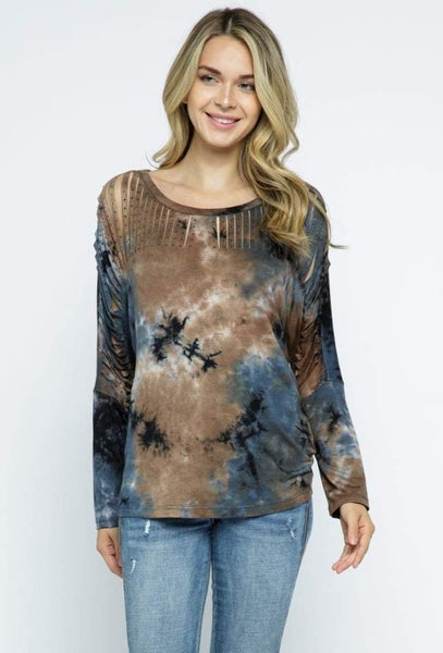 Camel and Navy Tie Dye Laser Cut Long Sleeves