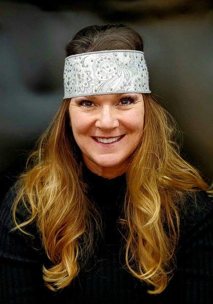 Silver Paisley Headband Strip with Diamond Clear Swarovski Crystals  (Sku5518)