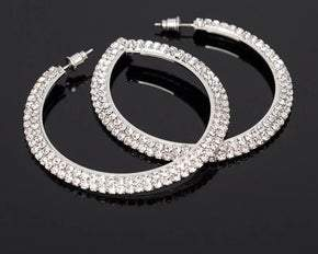 Double Row Crystal Hoop Pierced Earrings (sku8301)