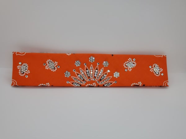 Narrow Orange Paisley with Diamond Clear Swarovski Crystals (sku2194)