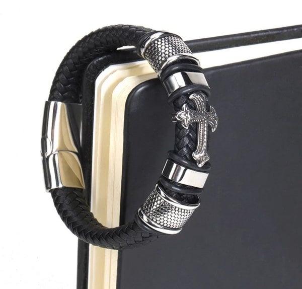 Black Leather Cross Bracelet LARGE  (sku8329)