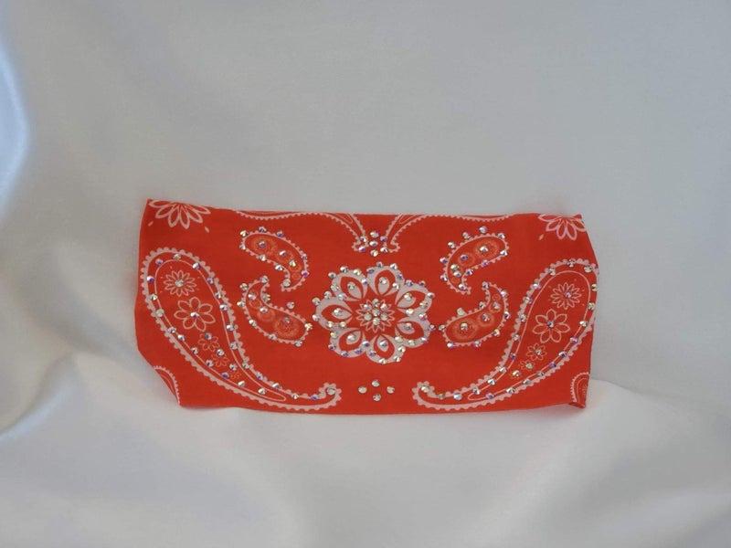 Stretchy Orange/Coral Flower Headband With Aurora Borealis Austrian Crystals (Sku5083)