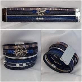 Blue Leather Rope Tree Of Wisdom Multilayer Bracelet (sku8311)