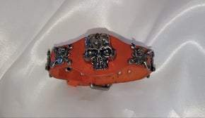 Burnt Orange Adjustable Leather Skull Motor Wrench UNISEX Bracelet (sku8324)