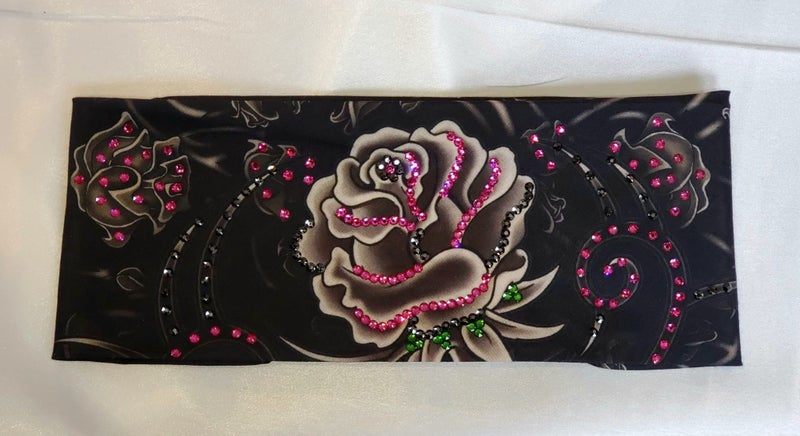 Large Grey Rose with Fuchsia, Green and Black Swarovski Crystals