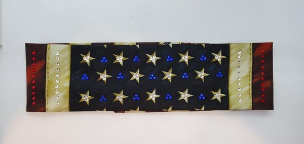 Vintage Flag with Red, Blue and Diamond Clear Swarovski Crystals (Sku1086)