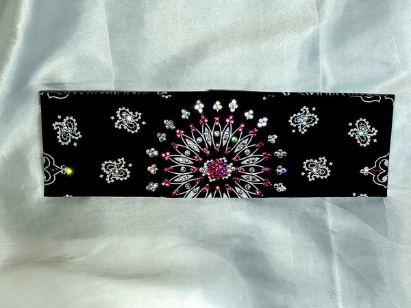 EXTRA BLING - Black Paisley With Fuchsia and Diamond Clear Swarovski Crystals (Sku4604)