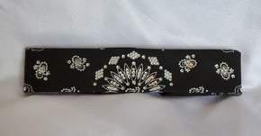 Narrow Black Paisley with Diamond Clear Swarovski Crystals (Sku2074)