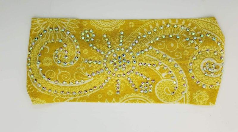 Stretchy Yellow Headband with Aurora Borealis Crystals (Sku5109)