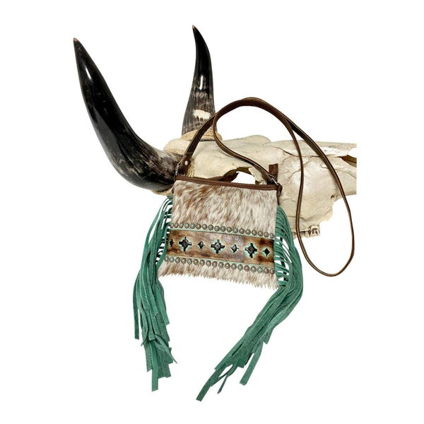 Raviani Brindle Navajo Designed Purse with Turquoise & Brown Leather (Sku P-3004)