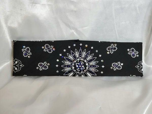 Black Paisley With Dark Purple and Diamond Clear Swarovski Crystals (Sku1940)