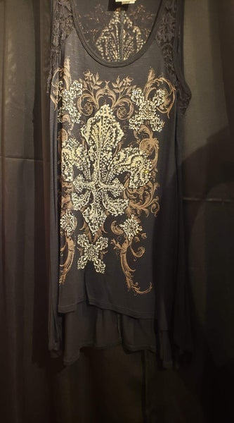 Black Tunic with Lace Shoulders and Rhinestone