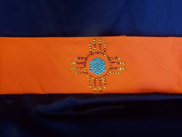Zia on Orange with Orange, Yellow and Turquoise Swarovski Crystals (Sku9700)
