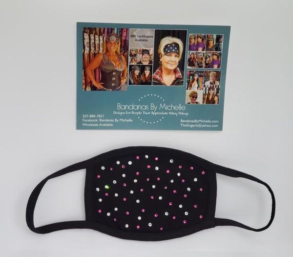 Black Face Mask with Fuchsia and Diamond Clear Swarovski Crystals (Sku5919)