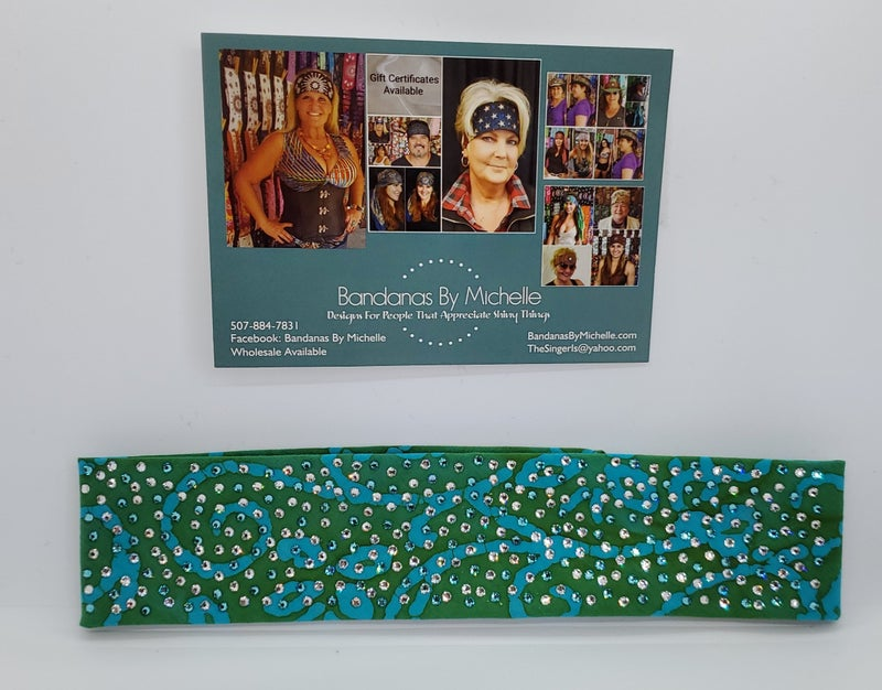 LeeAnnette NARROW Tuquoise Batik  Design With Clear and Turquoise Swarovski Crystals (sku4923)
