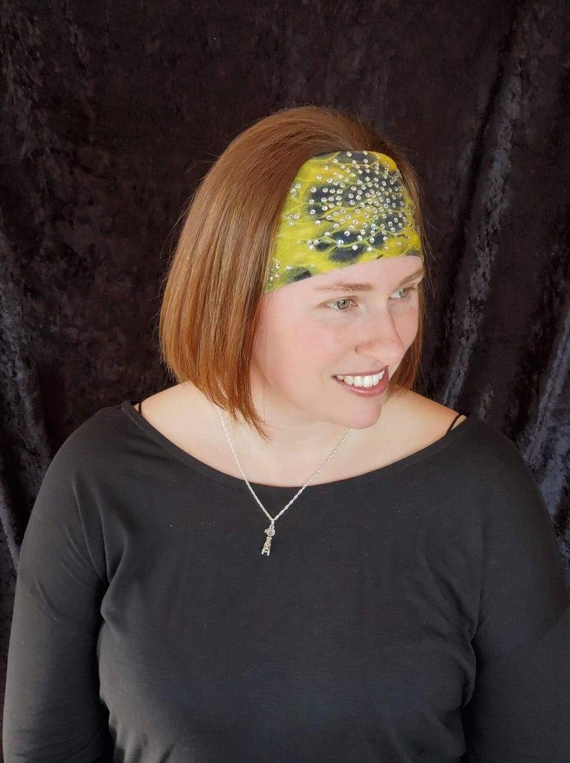 Stretchy Yellow and Black Headband with Clear Crystals (Sku5056)