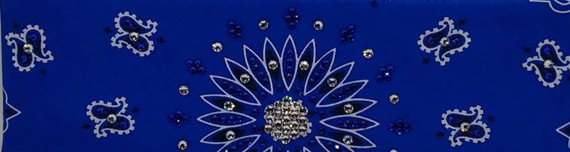 Blue Paisley with Blue and Diamond Clear Swarovski Crystals (Sku2051)