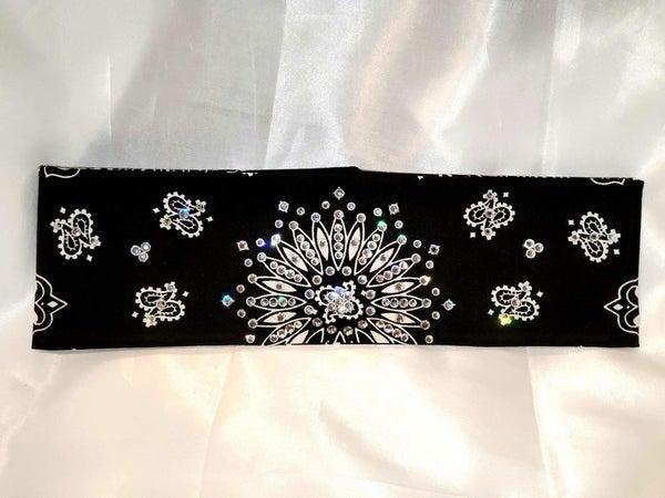 Black Paisley With Diamond Clear Swarovski Crystals (Sku1937)