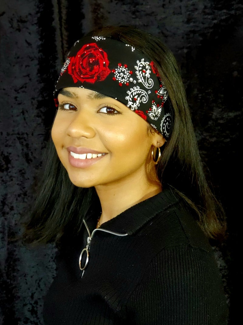 Red Rose Bandana with bright red and clear Swarovski crystals (Sku9005)