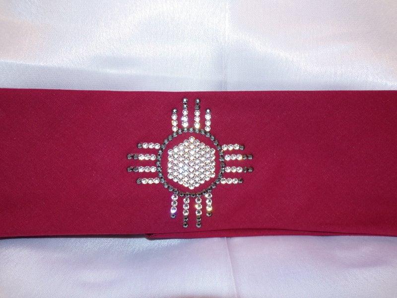 Zia on Maroon Black and Diamond Clear Swarovski Crystals (Sku9715)