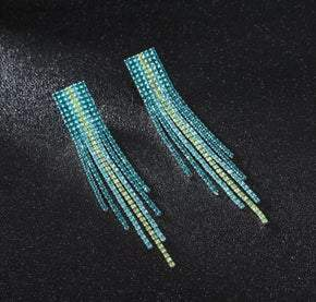 Turquoise Tassel Rhinestone Pierced Earrings (sku8303)