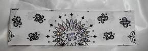 White Paisley with Aurora Borealis and Diamond Clear Swarovski Crystals (Sku2014)