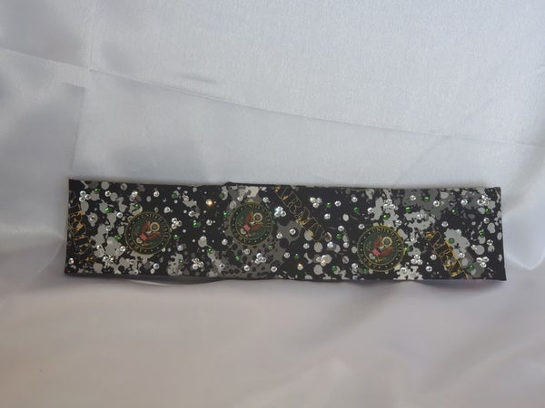 Narrow Army with Green and Diamond Clear Swarovski Crystals (Sku1825)