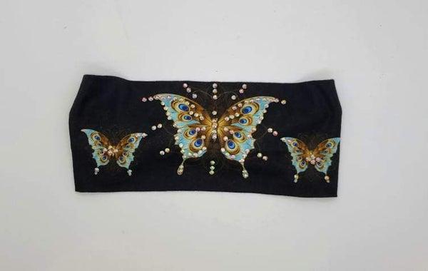 Stretchy Headband Butterfly with Aurora Borealis Crystals (Sku5125)