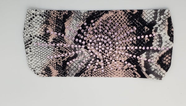 Stretchy Snake Print Headband with Light Pink Crystals (Sku5113)