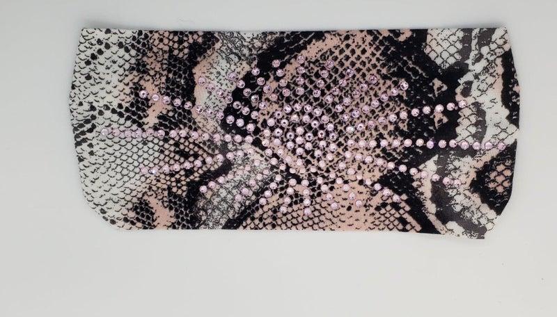 Stretchy Snake Print Headband with Light Pink Crystals (Sku5113)