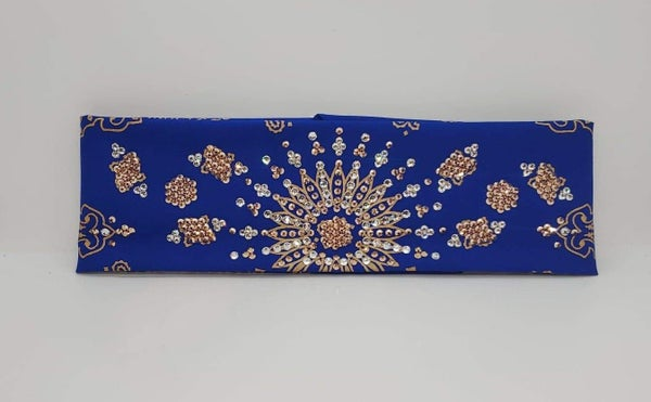 LeeAnnette Gold Paisley on Royal Blue with Rose Gold and Diamond Clear Crystals (Sku4371)