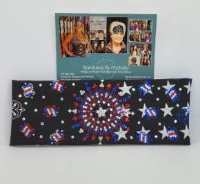 LeeAnnette Black Stars and Stripes Bandana with Red Clear and Blue Swarovski Crystals (Sku4907)