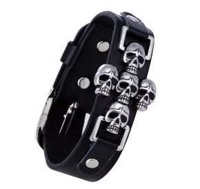 Narrow UNISEX Black Leather Multi Skull  Adjustable Bracelet (sku8317)