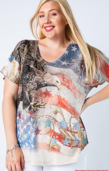 Plus Sized Eagle and Flag