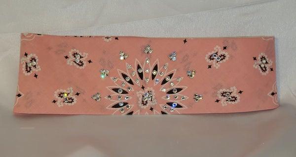 Bargain Bandana Pastel Pink with Diamond Clear Crystals (Sku8100)