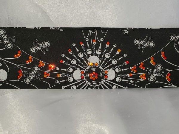 Spider Web Skull Bandana with Orange and Black Swarovski Crystals (Sku1653)