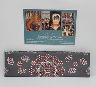 LeeAnnette Charcoal Paisley with Red and Diamond Clear Swarovski Crystals (Sku4511)