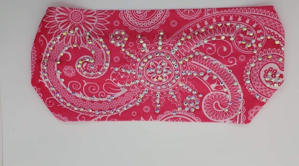 Stretchy Bright Pink Headband with Aurora Borealis Crystals (Sku5104)