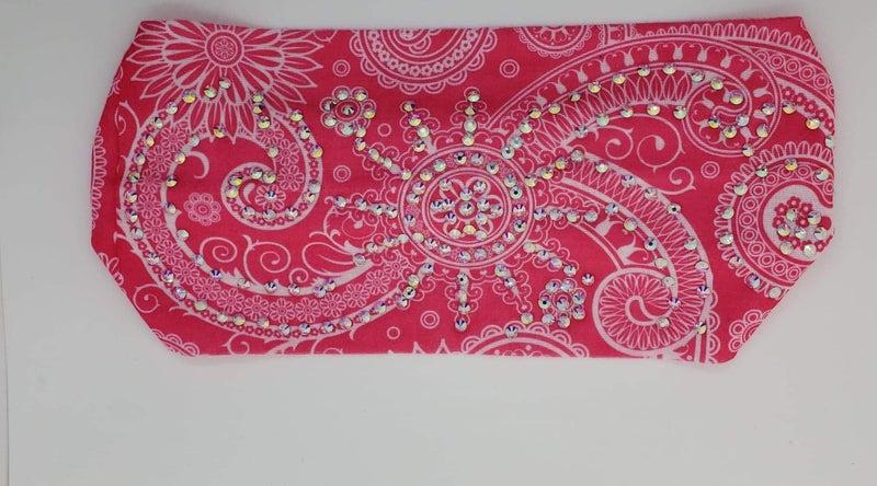 Stretchy Bright Pink Headband with Aurora Borealis Crystals (Sku5104)